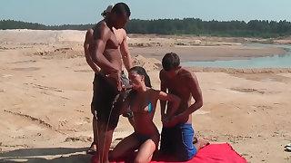 Tripled on a beach