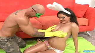 Nice teen in bunny outfit Charly gives her head and gets her pierced pussy fucked