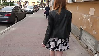 Tricky porn agent fucks pretty hot Russian red haired student Lili Fox