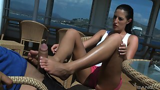 Kortney Kane gives a footjob together with gets cum in indiscretion on a yacht