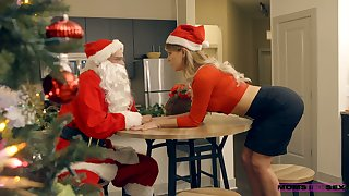 Perverted Santa Clause fucks stepmom added to stepdaughter under Xmas two