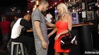 Busty blonde gangbanged respecting a bar