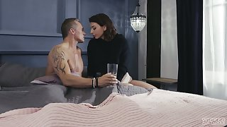 Curvy tattooed chick Ivy Lebelle makes her sick step daddy sweat during crazy sex