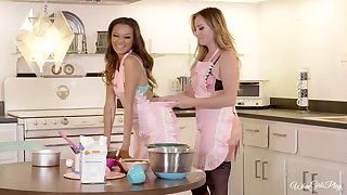 Kitchen is the perfect place for lesbian sex - Britney and Alex