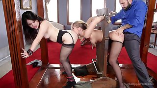 Yhivi and Harley Jade in nasty BDSM threesome with one dude