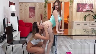 Fervid lesbian teens get covered with pee and squirt wet snatches