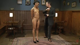 Dominant man explains to submissive girl Nikki Darling how to torture