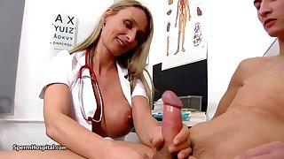 Steamy nurse is wearing fabulous uniform while toying with her patient's rock stiff meat stick