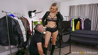 Intense blonde shows off in merciless femdom scenes