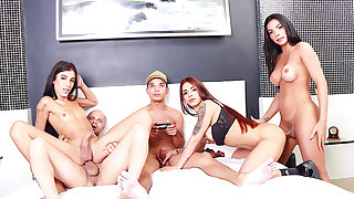 Video Game Party Turns Into a Sizzling Orgy with Three Big Dicked Shemales