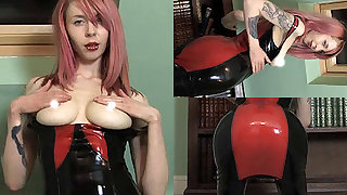 Ashleigh D in Red/Black Dress and Stockings - LatexHeavenVideo