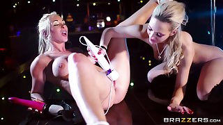 Sophia Knight and Victoria Summers playing with a large strapon